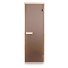 Стеклянная дверь для бани и сауны GREUS Classic матовая бронза 700х1900 липа