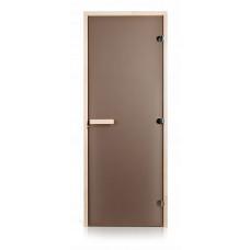 Стеклянная дверь для бани и сауны GREUS Classic матовая бронза 800х2000 липа