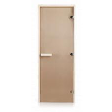 Стеклянная дверь для бани и сауны GREUS Classic прозрачная бронза 800х2000 липа