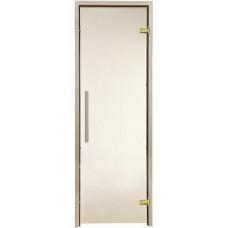 Стеклянная дверь для бани и сауны GREUS Premium прозрачная бронза 700х1900 липа