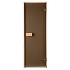 Стеклянная дверь для бани и сауны Saunax Classic прозрачная бронза 600х1900
