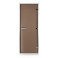 Стеклянная дверь для хамама GREUS Classic матовая бронза 800х2000 алюминий