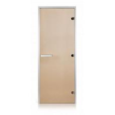 Стеклянная дверь для хамама GREUS Classic прозрачная бронза 800х2000 алюминий