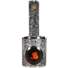 Печь дровяная IKI Original Plus со стеклянной дверкой и прямым дымоходом