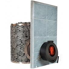 Печь дровяная IKI SL со стеклянной дверкой и прямым дымоходом