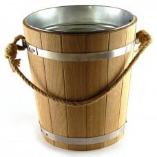 Ведро для бани 12 литров из дуба с металлической вставкой